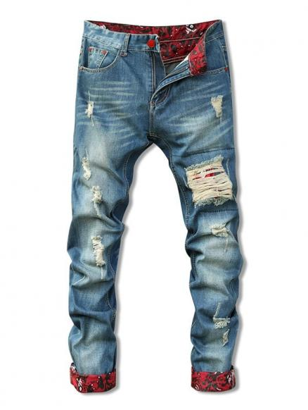 Holes Cat's Whisker Design Crimping Zipper Fly Straight Leg Men's Jeans