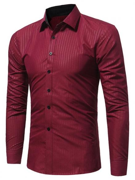 Vertical Stripe Embossing Long Sleeve Shirt