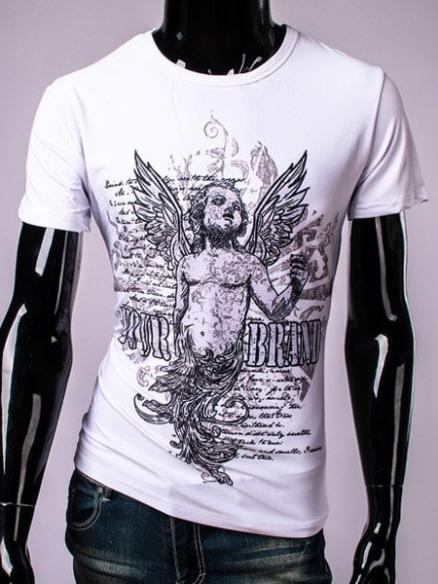 3D Angel and Letters Print Round Neck Short Sleeve Men's T-Shirt