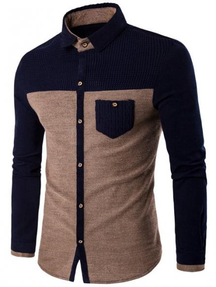 Pocket Design Two Tone Corduroy Pamel Shirt