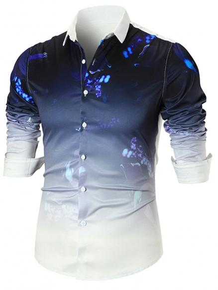 Paint Splatter Dip-dye Long Sleeve Shirt