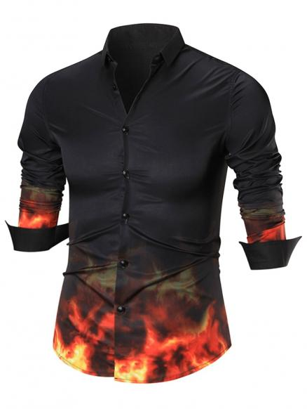 Flame Print Button Up Shirt
