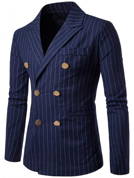 Vertical Stripe Peaked Lapel Casual Blazer
