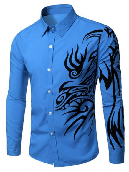 Long Sleeve Tatoo Floral Printed Shirt