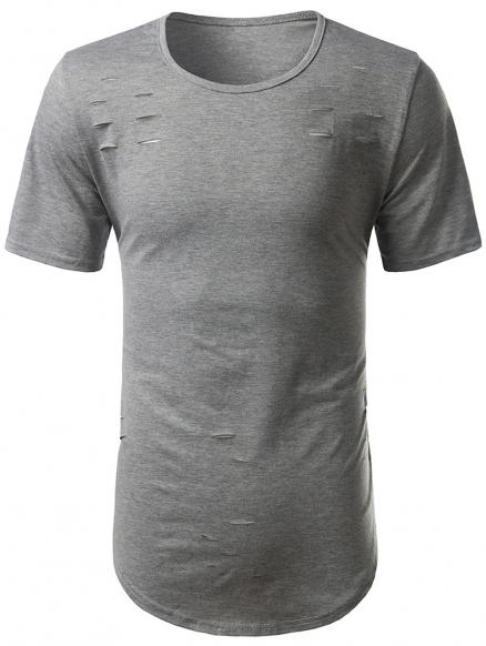 Arc Hem Short Sleeve Distressed Tee