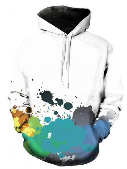 Colorful Paint Splatter 3D Print Pullover Hoodie