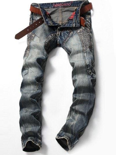 Multi Pocket Scratched Stitching Jeans