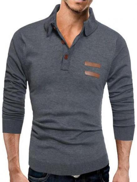 Half Button Up Long Sleeve Polo Sweater