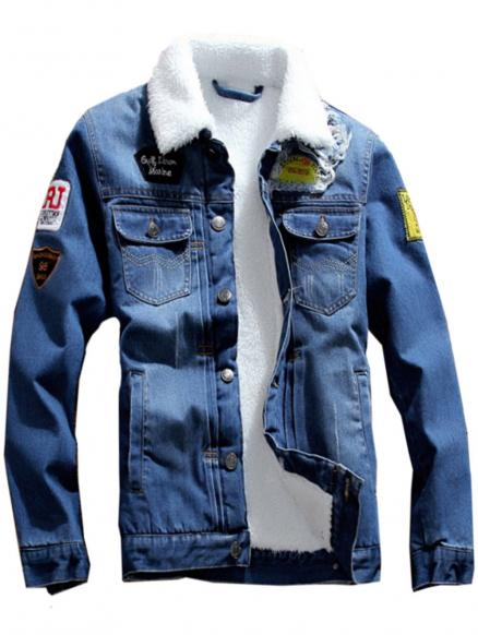 Chest Pocket Flocking Patched Denim Jacket