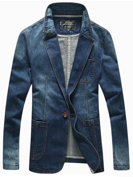 Lapel Long Sleeve Patch Pockets Front One-Button Denim Jacket