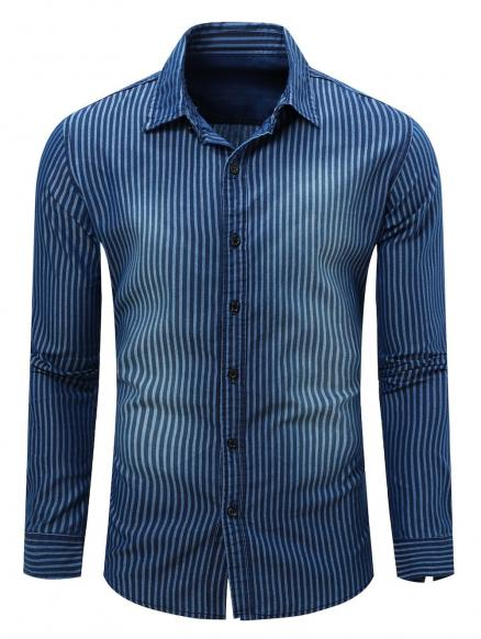 Striped Turn Down Collar Long Sleeve Men's Chambray Shirt
