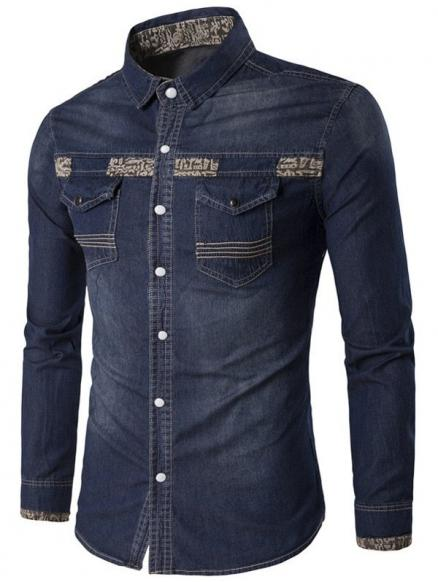 Totem Print Spliced Pocket Denim Shirt