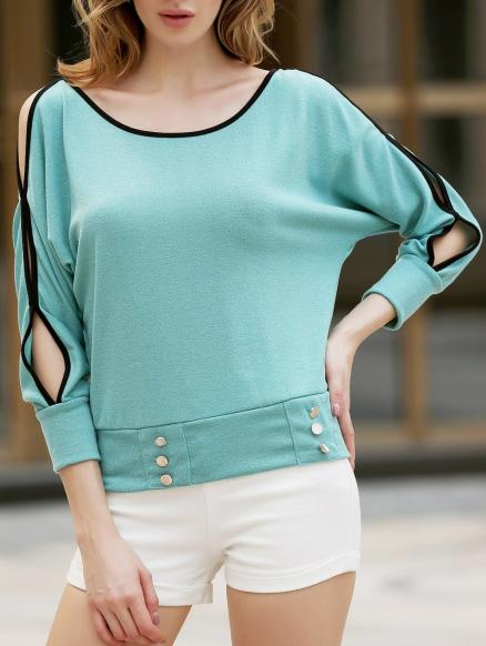Stylish Scoop Neck Batwing Long Sleeve Necklace Embellished Women's T-Shirt