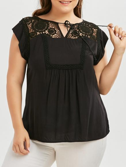 Plus Size Tie Front Crochet Trim Blouse