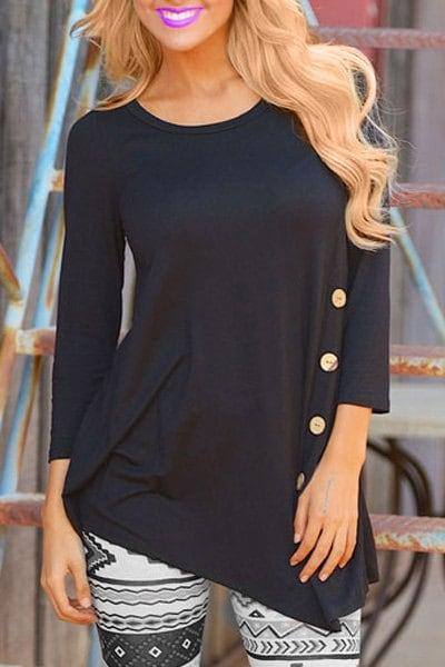 Stylish Long Sleeve Scoop Neck Button Embellished Irregular Women's T-Shirt