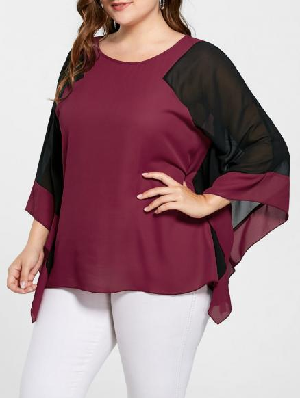 Plus Size Two Tone Batwing Sleeve Blouse