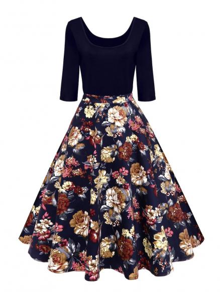 Vintage U Neck Floral Print Pin Up Dress