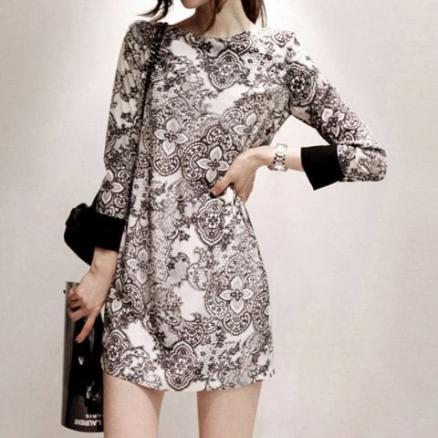 Elegant Printing Long Sleeved Women's Dress