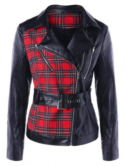 Plaid Biker Jacket with Belt