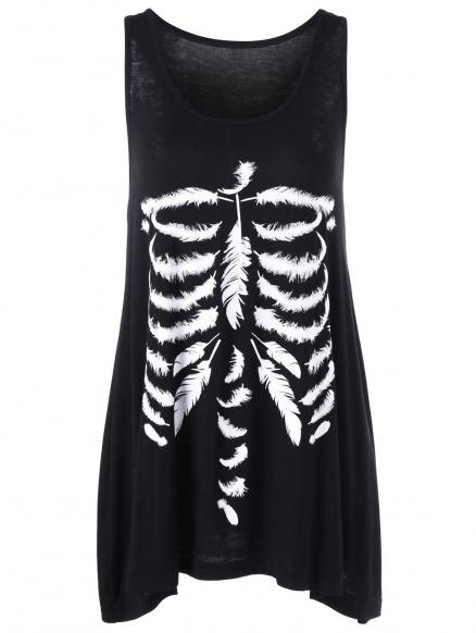 Feather Skeleton Print Tank Top