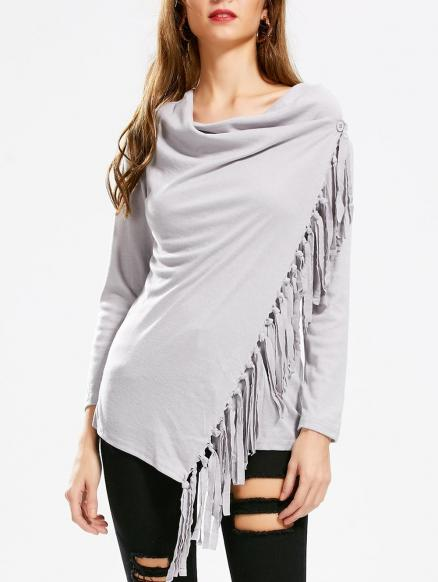Asymmetric Long Sleeve Tassel Top