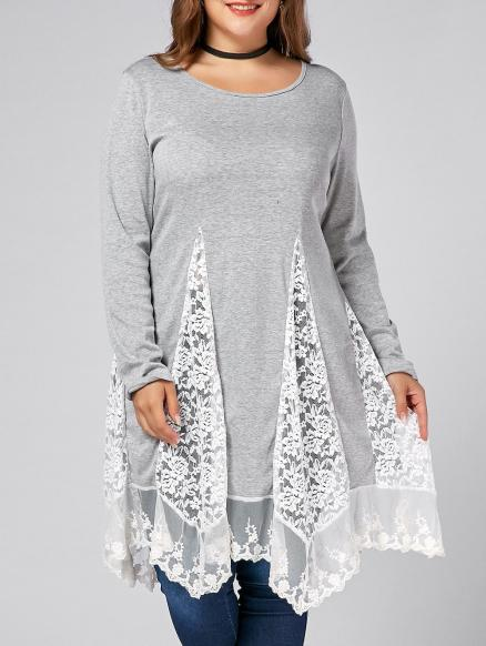 Plus Size Lace Trim Long Sleeve Swing T-shirts