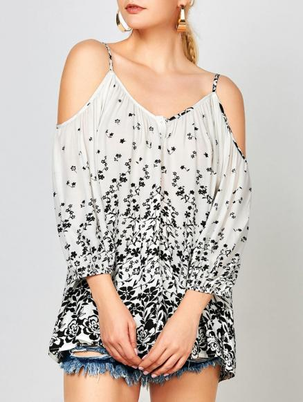 Dew Shoulder Tiny Floral Blouse