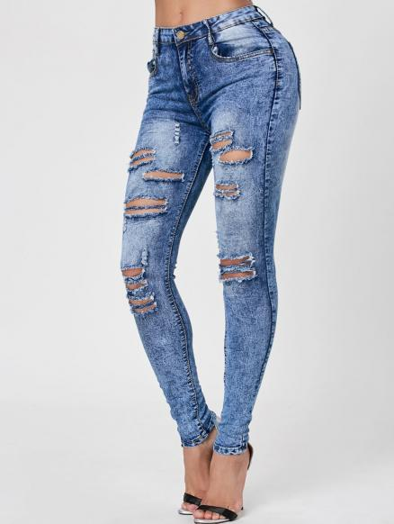 Skiny Ripped Acid Wash Jeans