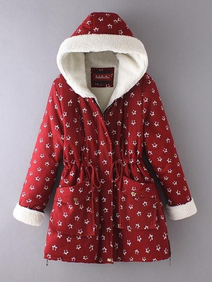 Plus Size Star Print Hooded Faux Shearling Parka