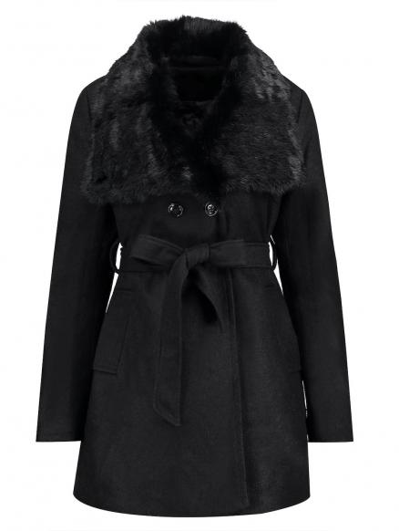 Plus Size Fur Collar Belted Coat