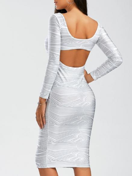 Sexy Scoop Neck Long Sleeve Backless Bodycon Women's Dress