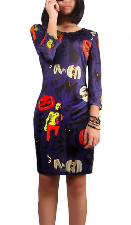 Halloween Pumpkin and Zombie Print Dress