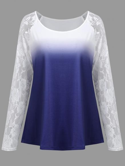 Plus Size Ombre Floral Lace Raglan Sleeve Tee