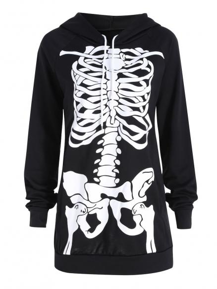 Halloween Plus Size Skeleton Graphic Hoodie