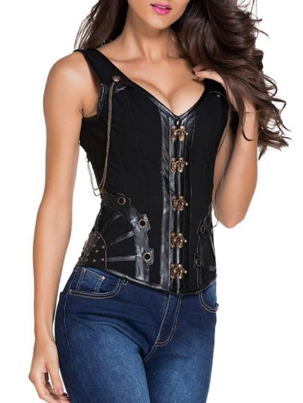 Pirate Punk Studded Lace Up  Overbust Corset Vest