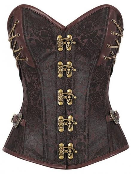 Jacquard Brocade Steampunk Lace Up Corset Top