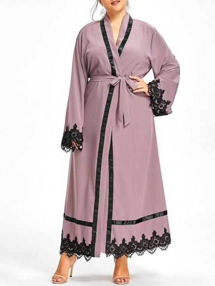 Plus Size Lace Trim Maxi Robe Coat with Belt