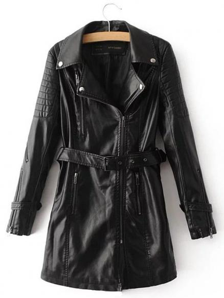 PU Leather Coat With Belt