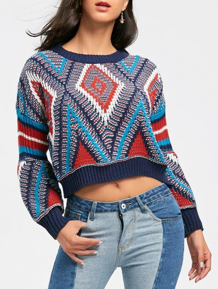 Crew Neck Puff Sleeve Argyle Cropped Sweater