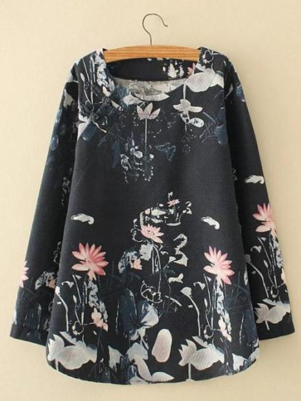 Plus Size Lotus Painting Chinese Button Linen Blouse
