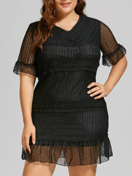 Plus Size Bell Sleeve Mini Lace Dress with Flounce Hem