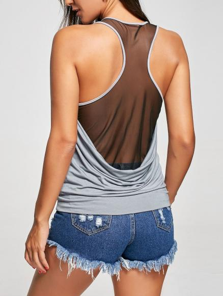 Raceback Sheer Scoop Neck Tank Top