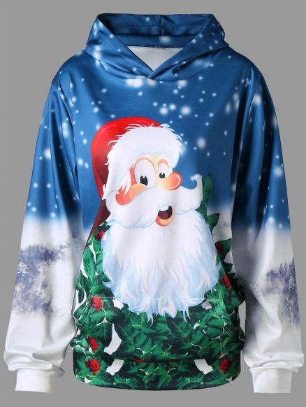 Plus Size 3D Father Christmas Kangaroo Pocket Pullover Hoodie