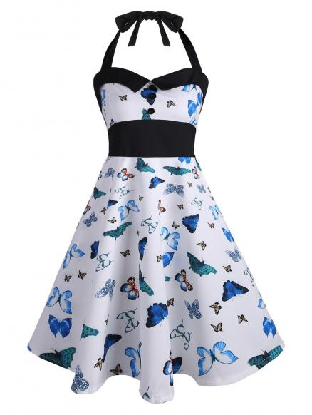 Vintage Halter Butterfly Print Pin Up Dress