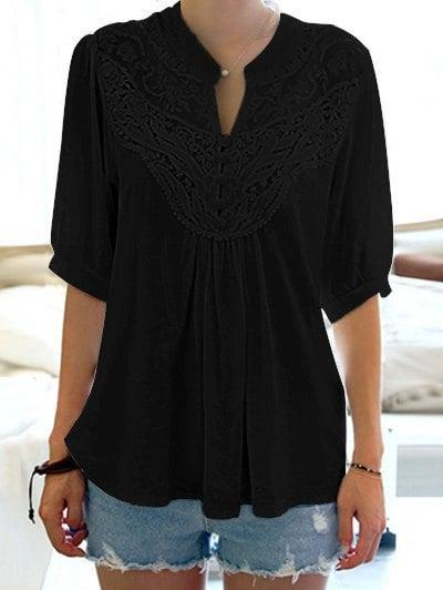 Half Sleeve Lace Splicing Blouse