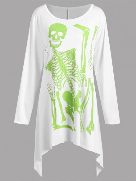 Plus Size Halloween Skeleton Print Asymmetrical T-shirt