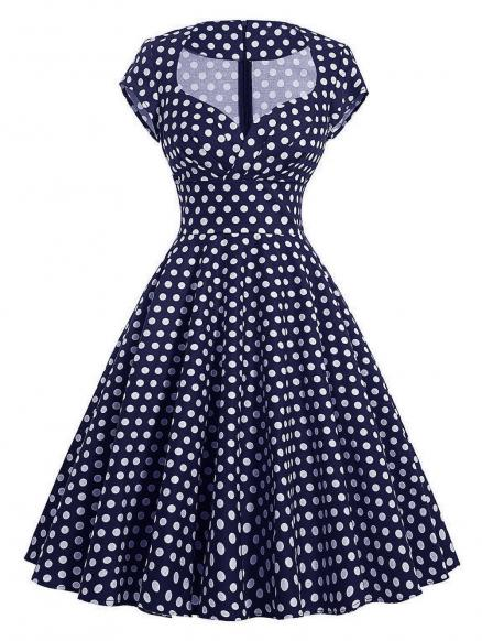 Vintage Polka Dot Pin Up Swing Dress