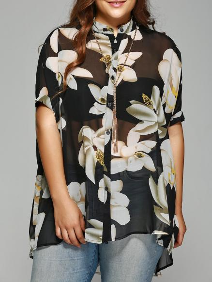 Chic Plus Size Batwing Sleeve Floral Shirt