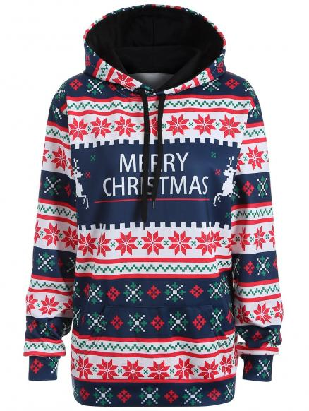 Plus Size Merry Christmas Snowflake Patterned Hoodies