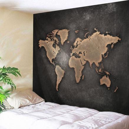 Seven Continents Map Tapestry Wall Hanging